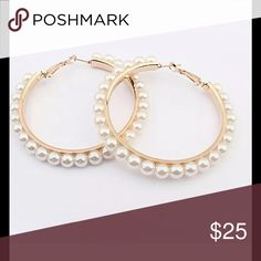 COMING SOON!!!   Gorgeous Pearl hoop earrings Perfect hoops for a special look Jewelry Earrings