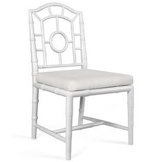 Fenn Hollywood White Linen Chippendale Dining Side Chair