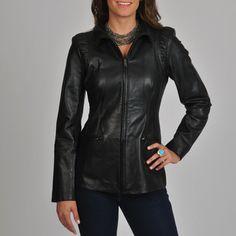 Jessica Simpson Women's Black Leather Scuba Jacket | Overstock.com