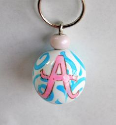 Blue swirl keychain with A, Initial A keychain, Monogram key chain, keychain with A, Ball Keychain,painted initial keychain,pink,blue,swirls by HazelMartinDesigns on Etsy