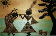 Deep Graphics - Warli Radha Krishna Mesmerising - Buy Ancient Artwork Paintings - Canvas Artwork For Sale Worli Painting, Online Painting, Fabric Painting, Madhubani Art, Madhubani Painting, Krishna Painting, Indian Folk Art, Art N Craft, Canvas Artwork