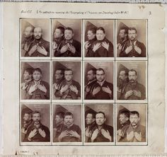 A page from an album of criminal register photographs taken in Wormwood Scrubs prison, London,  c. 1890. The prisoners hold up their hands to show any identifying features, such as tattoos or missing fingers. A mirror placed on their right shoulder captures their profile. The use of photography to record known criminals, the 'mug shot', had been in evidence as early as the 1840s.