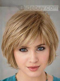 カスタム簡潔なウィメンズヘアスタイルショートストレート約6インチストロベリーブロンド100%人毛ウィッグ