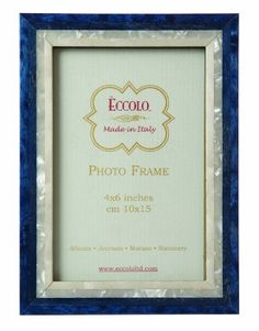Eccolo Made in Italy Marquetry Wood Frame Studio Blue Wood Holds a 4 x 6Inch Photo ** Click image to review more details.