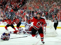 Adam Henrique reacts after scoring into OT to eliminate the NY Rangers and advance New Jersey to the 2012 Stanley Cup Finals. New Jersey Devils, Logos 3d, Rangers Game, Eastern Conference Finals, Calvin Johnson, T Mo, Stanley Cup Finals, Nhl News, New York Rangers