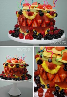 "healthy alternative to cake...  Instead a fruit salad...how about wowing them with a ""fruit"" cake...*wink*"