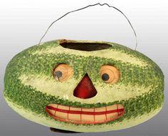 Vintage Halloween Paper Mache ~ Watermelon Jack-O-Lantern