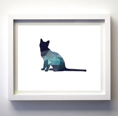 Navy Blue Teal Aqua wall art cat print modern minimalist animal art baby nursery…