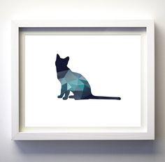 Navy Blue Teal Aqua wall art cat print modern minimalist animal art baby nursery modern minimalist art geometric animal print…