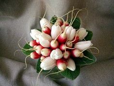 Radishes and tulips with lamb's ear- perfect spring bouquet!