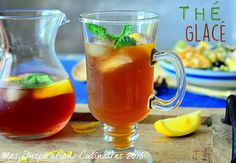 Thé Glacé a la menthe / How to make ice tea Juice Drinks, Yummy Drinks, Cocktail Fruit, Sweet Recipes, Healthy Recipes, Healthy Food, Island Food, Detox Tea, Iced Tea