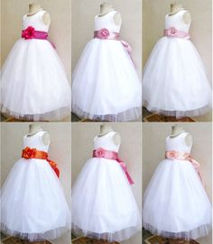 White fuchsia blush pink mauve coral orange peach tulle flower girl party dress #mykidcatalog #DressyHolidayPageantWedding