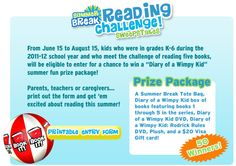 Summer Break Reading Challenge!  Enter to win Diary of a Wimpy Kid prize package