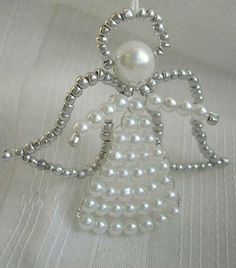 Simple Do It Yourself Christmas Crafts - Angel Angel Ornaments, Beaded Ornaments, Wire Crafts, Bead Crafts, Christmas Angels, Christmas Crafts, Beaded Christmas Decorations, Beaded Angels, Xmax