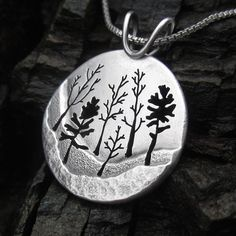 Winter Heritage Trail Woodland Forest Sterling Silver Pendant