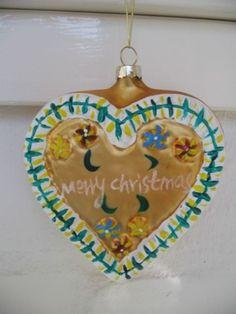 Lustiger Christbaumschmuck * Trachten Herz aus Glas * NEU! Christbaumkugel NEU!