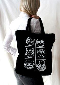 Heawing -kangakassi, denim // Headwing - denim tote bag Design by Pisama Design #pöllö #owl
