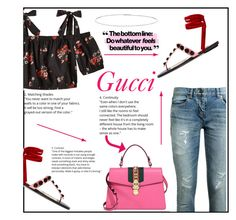 """""""Gucci"""" by styledbytrell on Polyvore featuring Yves Saint Laurent, Attico, Suzanne Kalan and Gucci"""