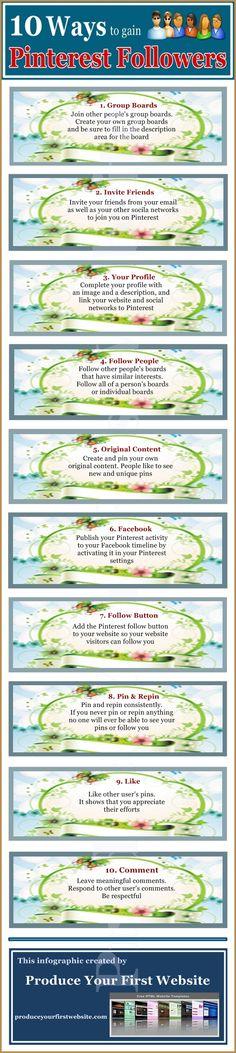 10 ways to gain #Pinterest Followers #gainpinterestfollowers
