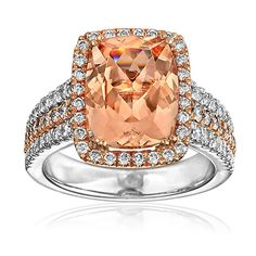 Morganite center stone white and rose gold and diamonds