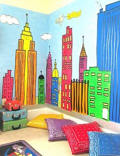 Great travel themed room. Kids Wall, Bright Colour, Theme Rooms, Wall Murals, Black White, Cool Ideas, Floors Pillows, Bright Colors, Kids Rooms