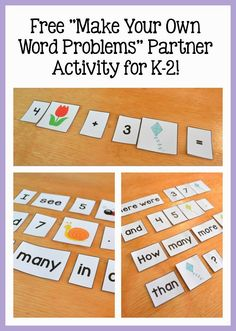 Have kids work in partners to create word problems for each other to solve!  Download the cards for free here:  http://learningattheprimarypond.com/second-grade/spring-math-literacy-activities/
