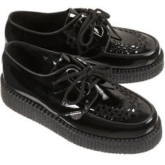 Underground Patent Creepers (5.875 RUB) ❤ liked on Polyvore featuring shoes, creepers, flats, boots, black, flat patent leather shoes, patent leather shoes, flat shoes, black creeper shoes and black flats