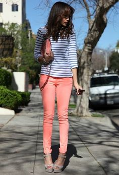 Love everything about this outfit.especially the peach pants Looks Style, Style Me, Pastel Jeans, Coral Jeans, Peach Pants, Orange Pants, Color Durazno, Bright Pants, Stitch Fix Stylist