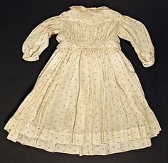 Dress Date: ca. 1860 Culture: American Medium: cotton Dimensions: [no dimensions available] Credit Line: Gift of Miss E. Victorian Children's Clothing, Vintage Clothing, Vintage Outfits, Vintage Fashion, Costume Institute, Historical Clothing, Apparel Design, Fashion History, Cotton Dresses