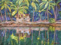 Cottage On The River, oil painting by Dominique Amendola, green, water, India. Fine art prints available, just click on this image. This image is under strict copyright to Dominique Amendola.