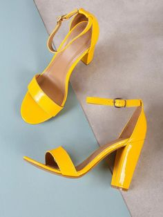 892f2b87fe Shop Patent Single Band Ankle Strap Chunky Heel YELLOW online. SheIn offers  Patent Single Band