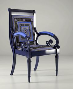 Versace Home Collection.  And another warmish blue and black very elegant chair belongs here!