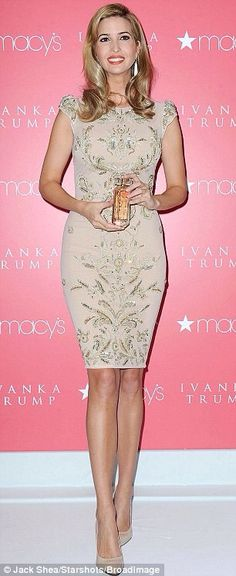 Ivanka Trump- beautiful dress with gorgeous embellishments.and the perfect knee length shows you don't need to wear a mini dress to be sexy! Ivanka Marie Trump, Ivanka Trump Style, Dress Skirt, Beautiful Dresses, Beautiful People, Celebrity Style, Casual, Celebs, Celebrities