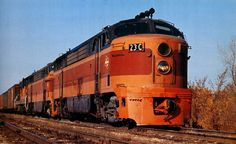 "marmarinou: "" Milwaukee Road Fairbanks-Morse C-Liners by David Rider "" Train Car, Train Tracks, Fairbanks Morse, Railroad Pictures, Railroad History, Milwaukee Road, Railroad Photography, Covered Wagon, Abandoned Amusement Parks"