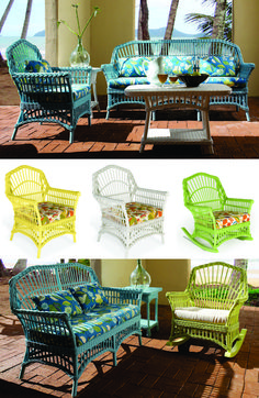 Painted wicker furnishings in natural finishes are mainstays of a tropical or casual setting. Which colors work best with interior and exterior settings is often a matter of taste Painting Wicker Furniture, Painted Wicker, Interior And Exterior, Tropical, Bathroom, Chair, Natural, Colors, Home Decor