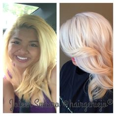 """STEP 3: """"I mixed Redken Flashlift and 20 vol and 1/4 Olaplex and applied to the middle of the hair shaft that was yellow. The middle of her hair was the lightest and most porous due to her previous attempts at lightening."""""""