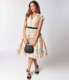 Bernie Dexter 1950s Tan Take It Easy Kelly Cap Sleeve Swing Dress