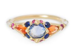 Blue Sapphire Cluster Split Halo Ring by: Polly Wales