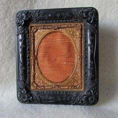 Antique c1850s Gutta Percha Thermaplast Picture Frame for Photograph