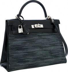 Hermes Limited Edition 32cm Black Calf Box Leather  amp  Vibrato Retourne Kelly  Bag with Palladium 3639cc51a92ec