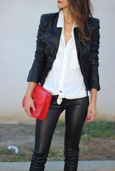 20 Looks with Leather Jackets Glamsugar.com Leather on Leather