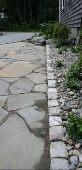 These design and construction for façade drainage is critical, porch drain andveranda water flowintended for homes uses a quite high quantity person adaptation. Landscape Elements, House Landscape, Cobblestone Paving, Stone Walkway, Flagstone Patio, Front Yard Landscaping, Native Plants, Garden Planning, Lawn