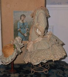 Pretty French Silk and Wool Bebe Costume with Bonnet