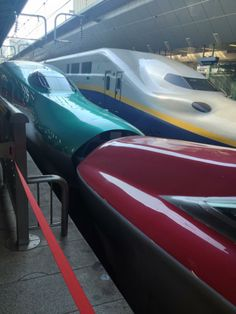 There are many models of Shinkansen (bullet train), including Komachi (front) and Hayabusa (behind).  Komachi runs between Tokyo and Akita, while Hayabusa runs between Tokyo and Aomori.  photo by Noriko Nagamine  http://www.japanrailpass.net