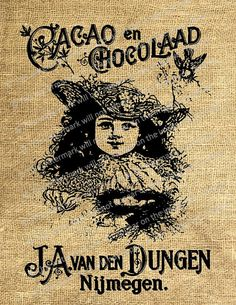 In honor of National Chocolate Lovers Month!  Antique Vintage Chocolate Advertisement Girl by DigitalDoDads, $1.19