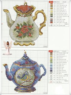 Thrilling Designing Your Own Cross Stitch Embroidery Patterns Ideas. Exhilarating Designing Your Own Cross Stitch Embroidery Patterns Ideas. Cross Stitch Charts, Counted Cross Stitch Patterns, Cross Stitch Designs, Cross Stitch Embroidery, Embroidery Patterns, Cross Stitch Kitchen, Le Point, Cross Stitching, Tea Pots