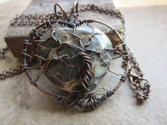 The Dragon Septarian Heart Jasper focal is wire wrapped in copper and formed to make a heart Tree of Life pendant!!
