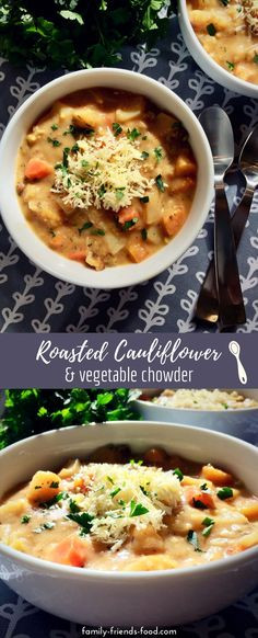 A creamy, filling vegetable chowder made with deeply savoury roasted cauliflower, buttery fried onions, and hearty carrots and potatoes. It's a meal in a bowl! Naturally gluten-free (and perfect for Pesach!) #passover #pesach #glutenfree #vegetarian #lunch #soup #easyrecipe