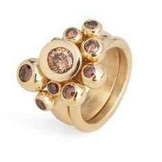 Tina Engell - Ball ring,18ct brown diamonds