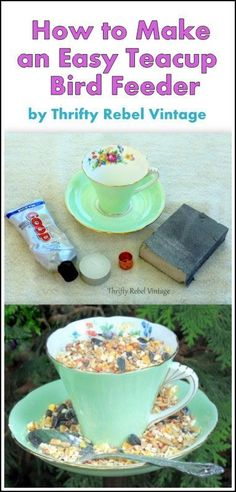 How to make a fun bird feeder for your feathered friends using a thrift store teacup and saucer.